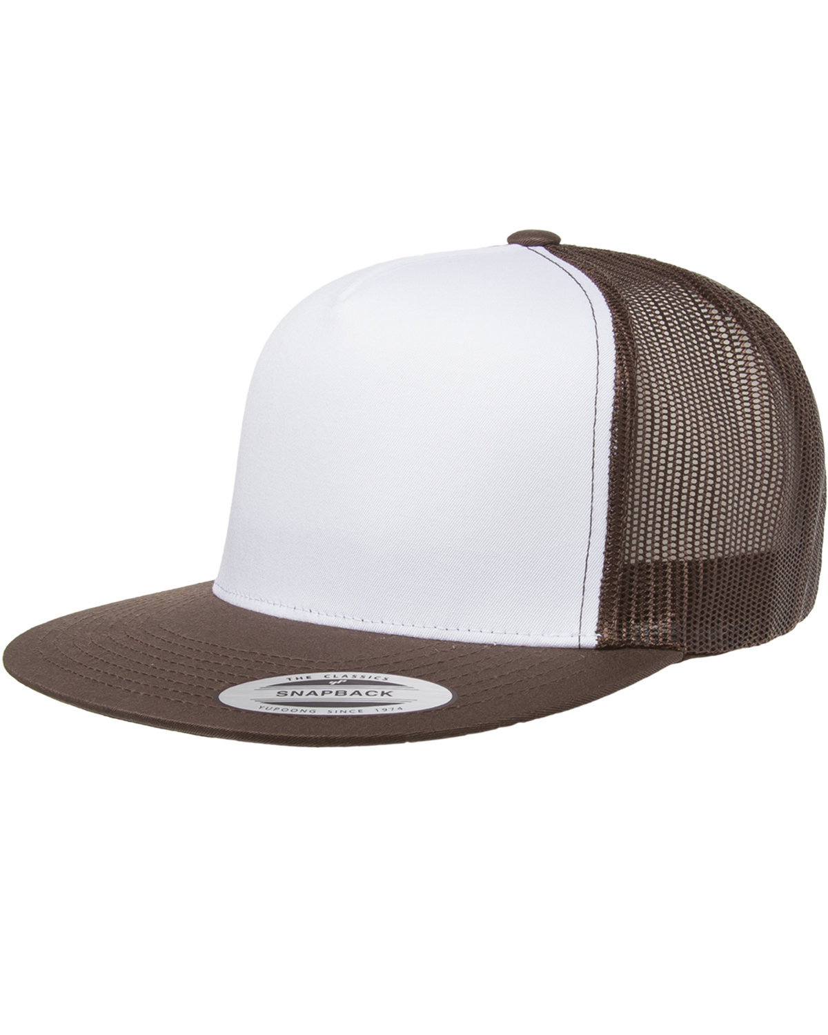 Yupoong Adult Classic Trucker with White Front Panel Cap BROWN/ WHT/ BRWN