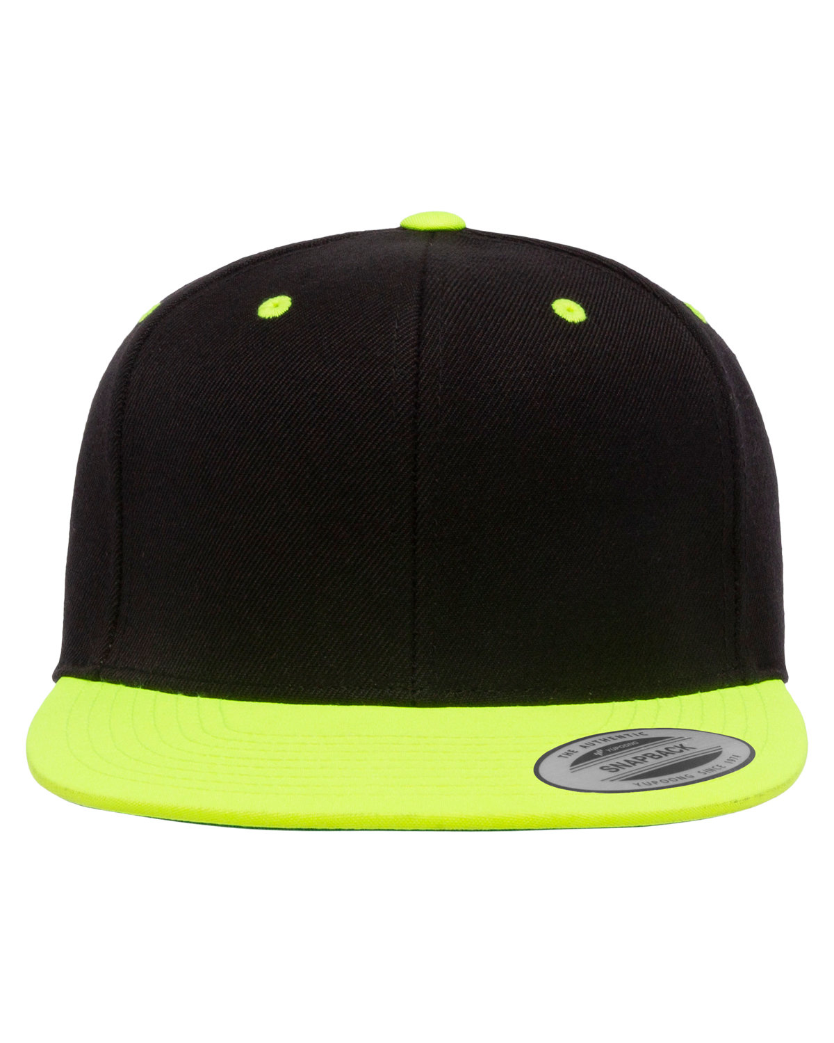 Yupoong Adult 6-Panel Structured Flat Visor ClassicSnapback BLACK/ NEON LIME