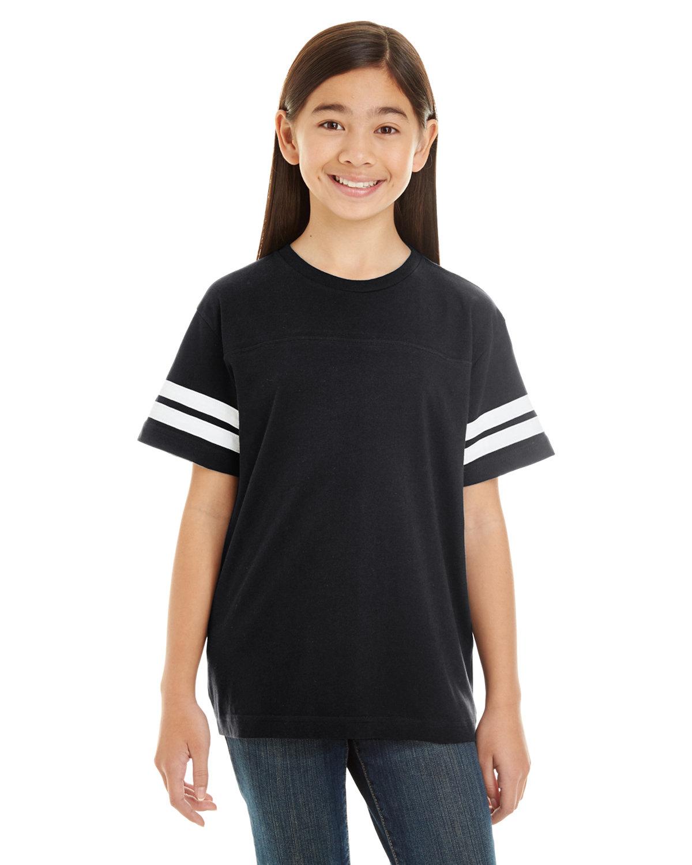 LAT Youth Football Fine Jersey T-Shirt BLACK/ WHITE
