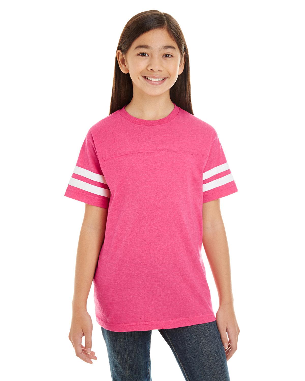 LAT Youth Football Fine Jersey T-Shirt V HT PNK/ BD WHT