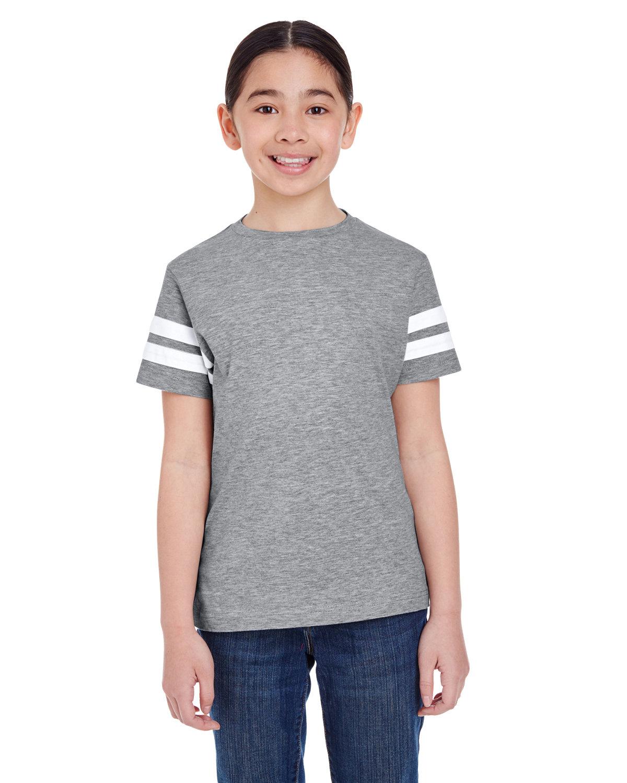 LAT Youth Football Fine Jersey T-Shirt VN HTHR/ BLD WHT