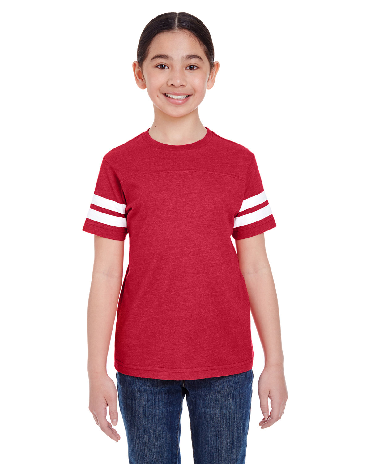 LAT Youth Football Fine Jersey T-Shirt VN RED/ BLD WHT