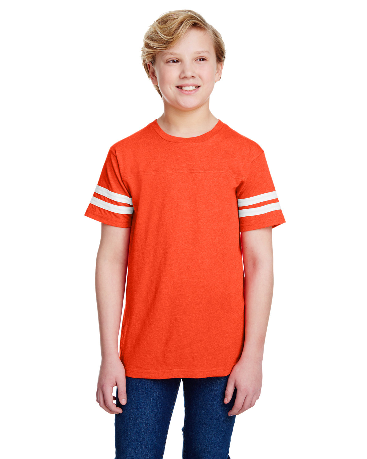 LAT Youth Football Fine Jersey T-Shirt VN ORANGE/ BD WH