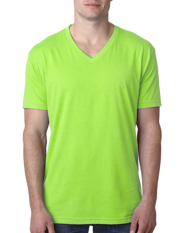 Next Level Men's CVC V-Neck T-Shirt NEON HTHR GREEN