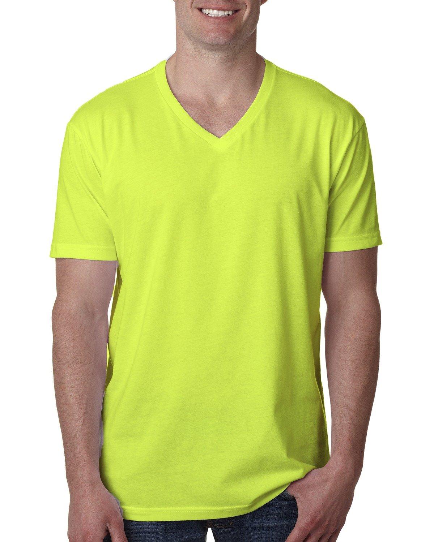 Next Level Men's CVC V-Neck T-Shirt NEON YELLOW