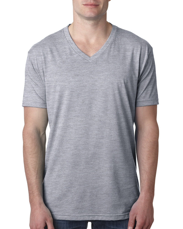 Next Level Men's CVC V-Neck T-Shirt DARK HTHR GRAY