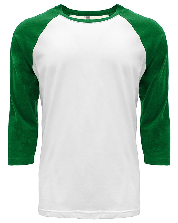 Next Level Unisex CVC 3/4 Sleeve Raglan Baseball T-Shirt KELLY GREEN/ WHT