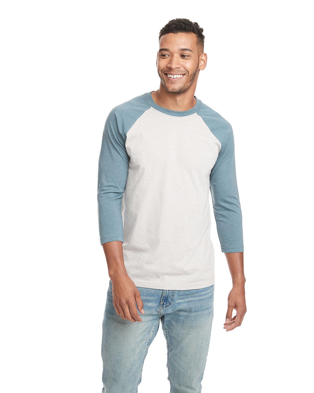Next Level Unisex CVC 3/4 Sleeve Raglan Baseball T-Shirt INDIGO/ SILK