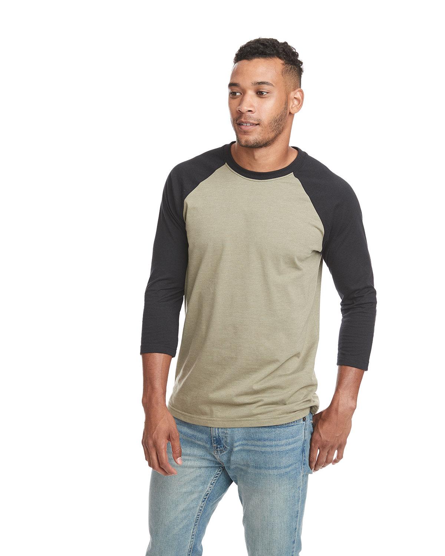 Next Level Unisex CVC 3/4 Sleeve Raglan Baseball T-Shirt BLACK/ OLIVE