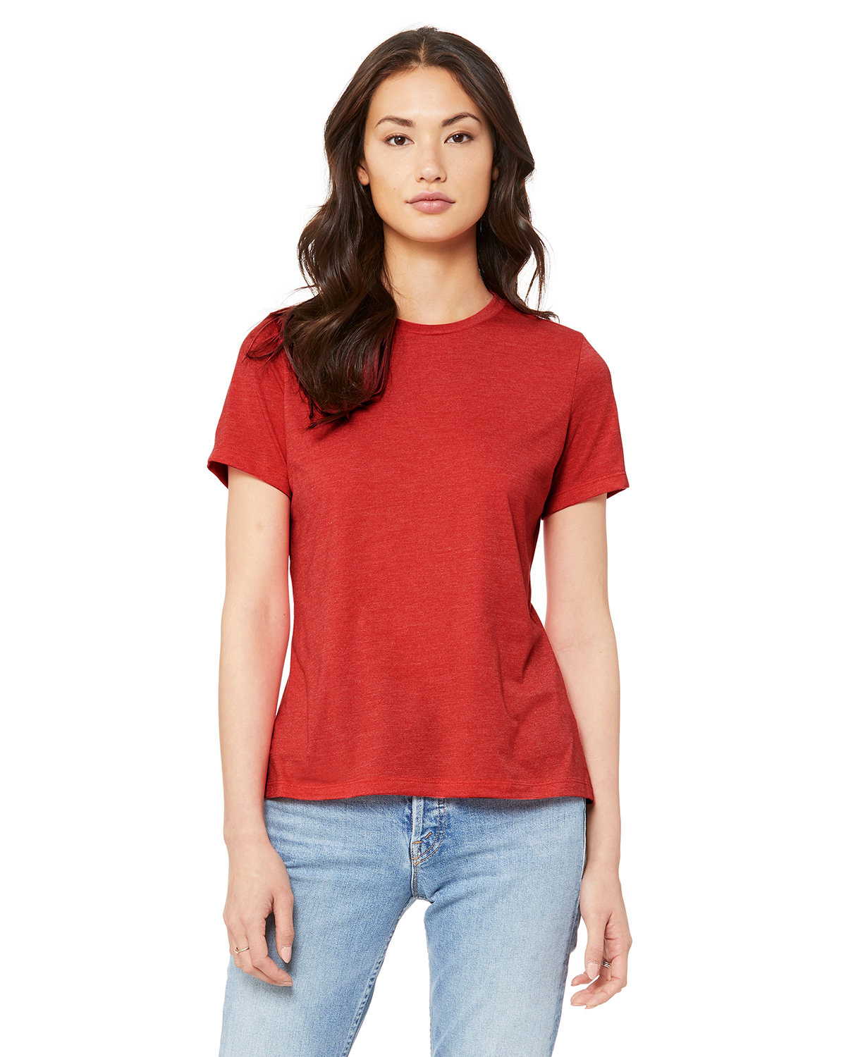 Bella + Canvas Ladies' Relaxed Heather CVC Short-Sleeve T-Shirt HEATHER RED