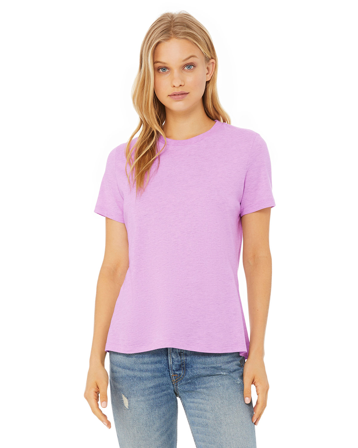 Bella + Canvas Ladies' Relaxed Heather CVC Short-Sleeve T-Shirt HTHR PRISM LILAC
