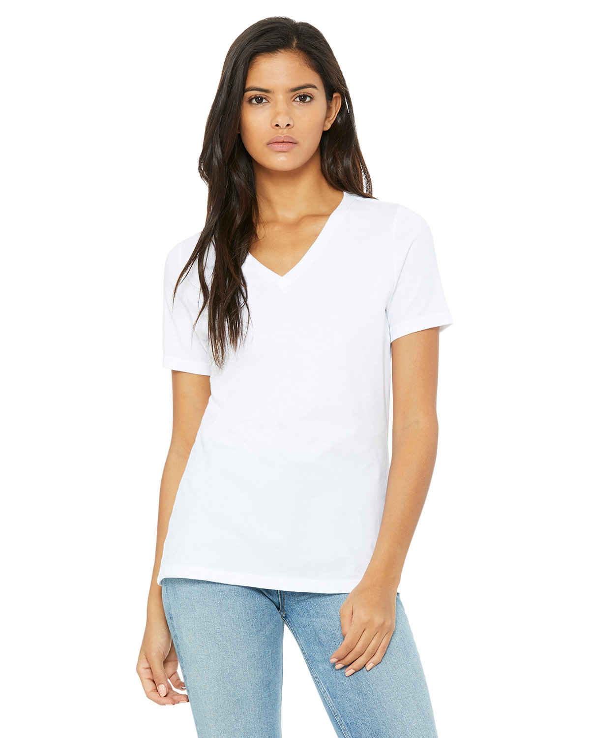Bella + Canvas Ladies' Relaxed Jersey V-Neck T-Shirt WHITE