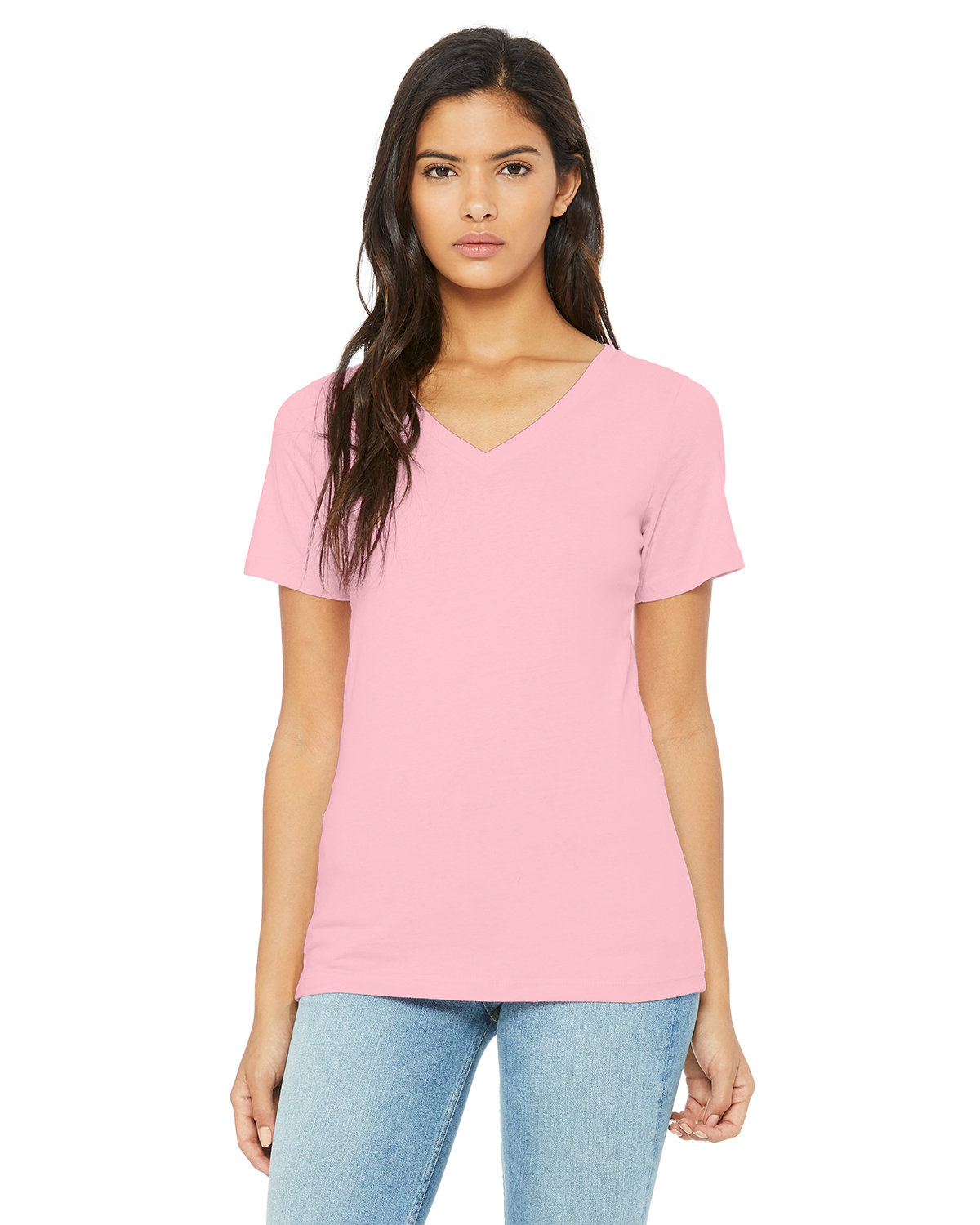 Bella + Canvas Ladies' Relaxed Jersey V-Neck T-Shirt PINK