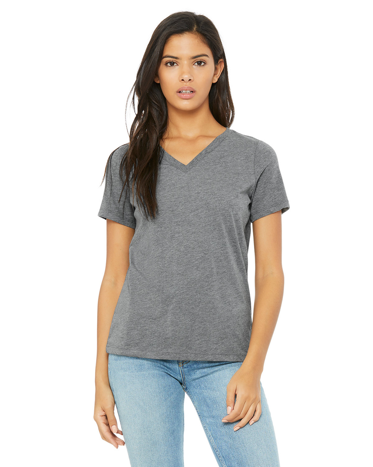 Bella + Canvas Ladies' Relaxed Jersey V-Neck T-Shirt GREY TRIBLEND