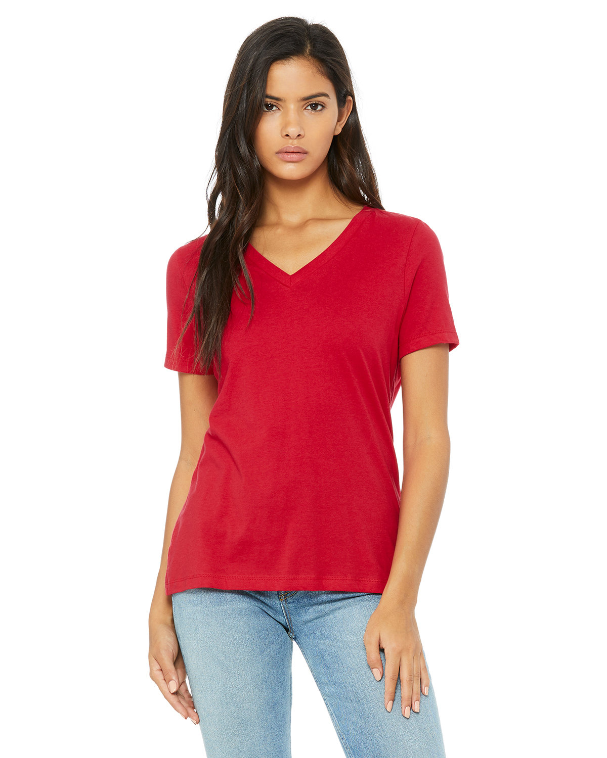 Bella + Canvas Ladies' Relaxed Jersey V-Neck T-Shirt RED