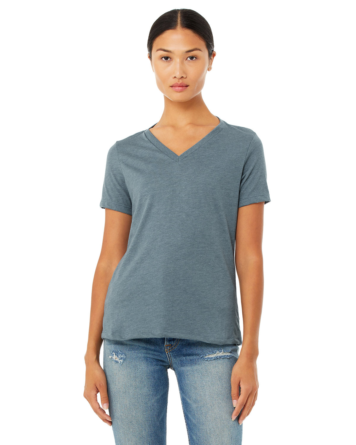 Bella + Canvas Ladies' Relaxed Jersey V-Neck T-Shirt HEATHER SLATE