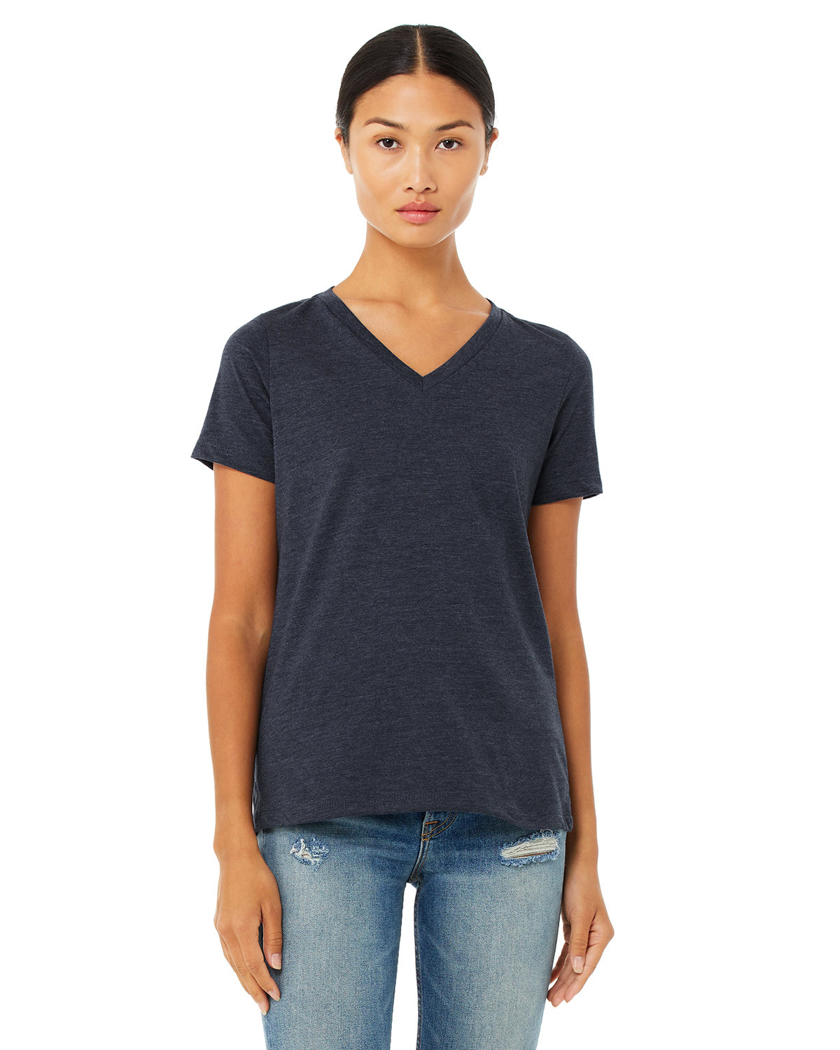 Bella + Canvas Ladies' Relaxed Jersey V-Neck T-Shirt HEATHER NAVY