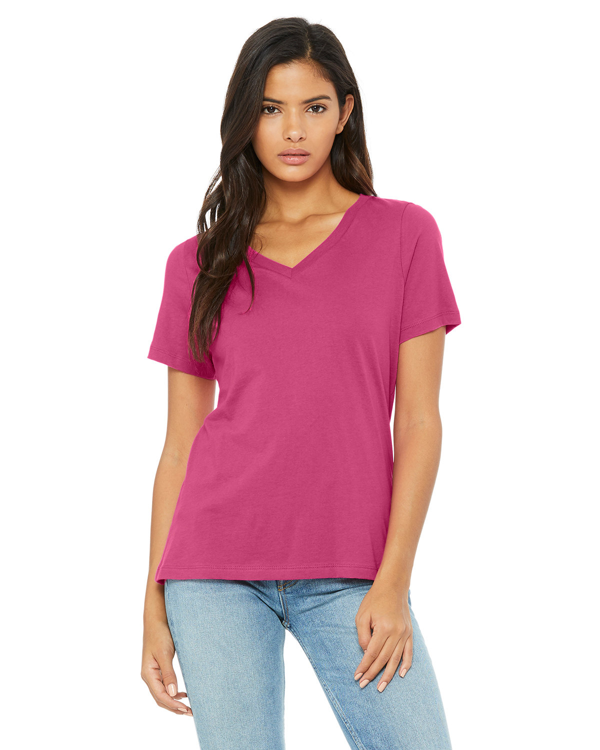 Bella + Canvas Ladies' Relaxed Jersey V-Neck T-Shirt BERRY