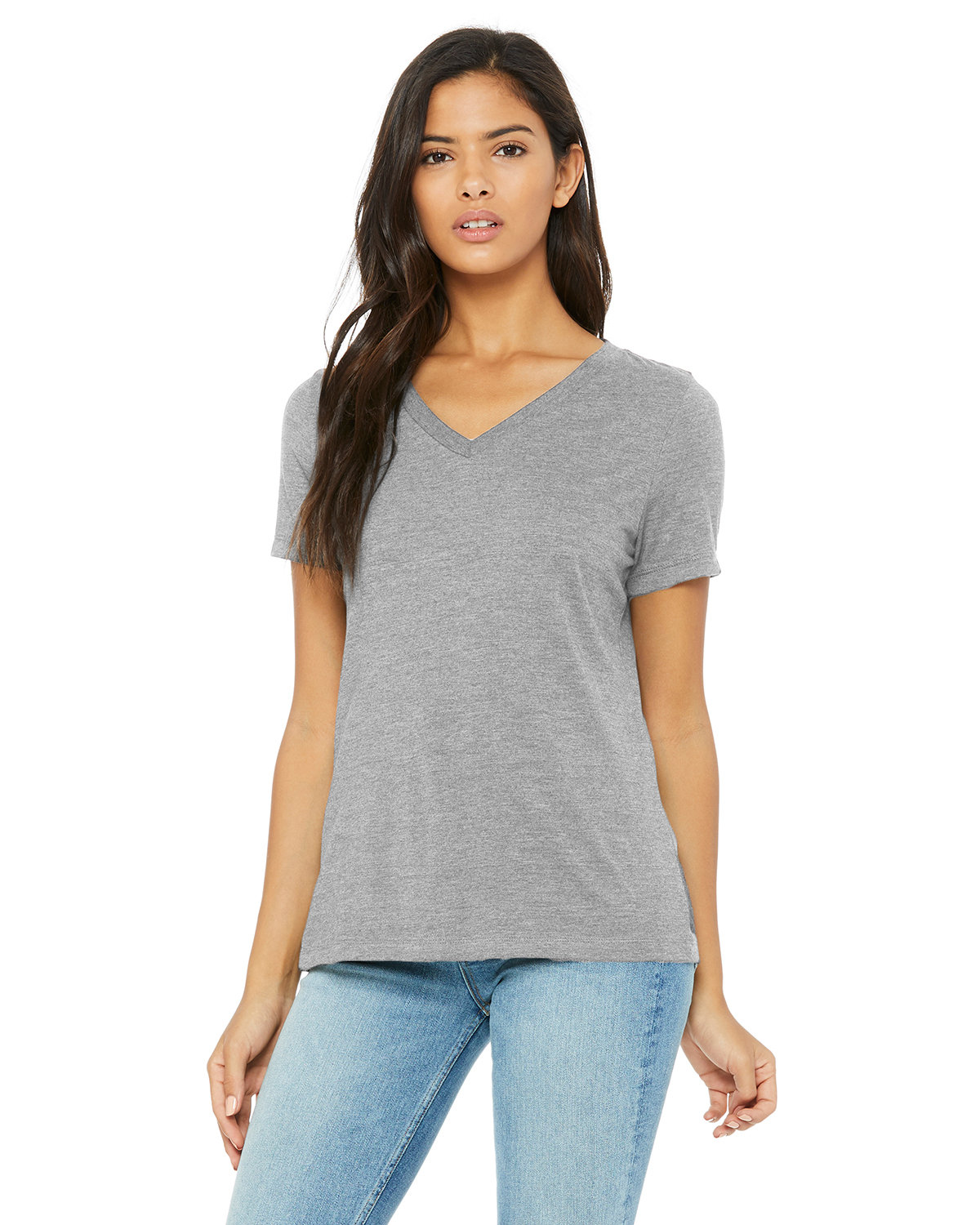 Bella + Canvas Ladies' Relaxed Jersey V-Neck T-Shirt ATHLETIC HEATHER