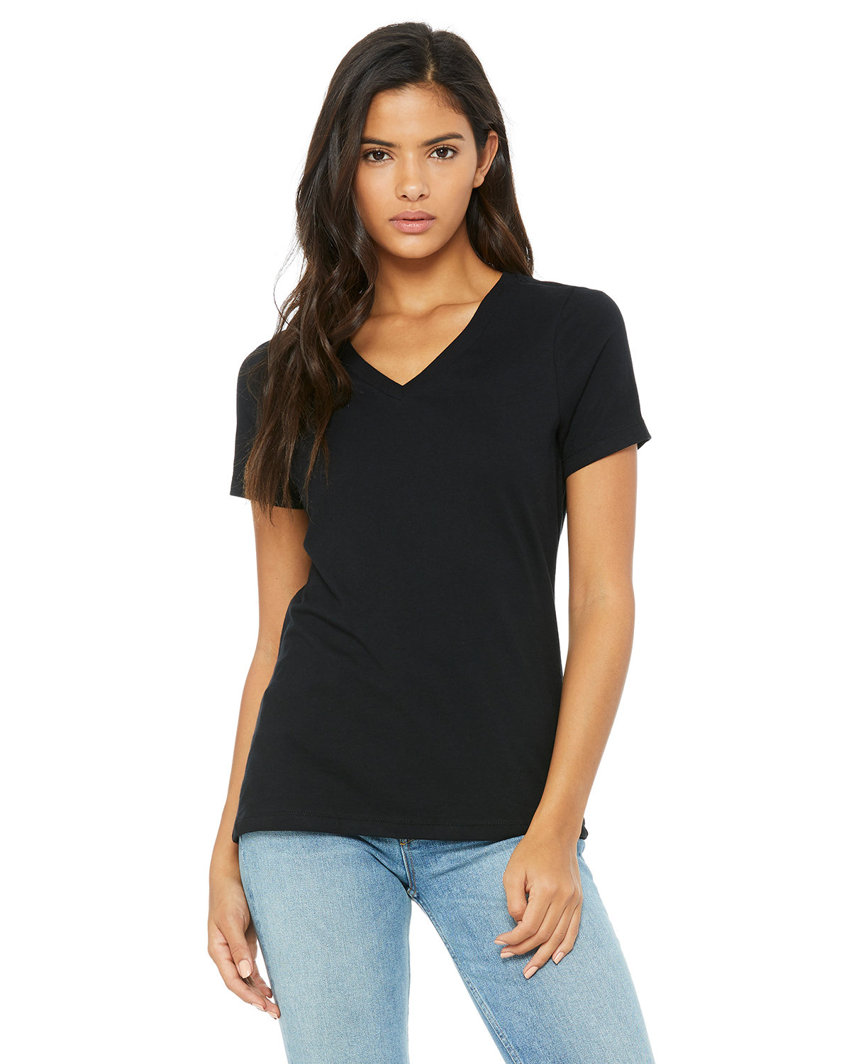Bella + Canvas Ladies' Relaxed Jersey V-Neck T-Shirt BLACK
