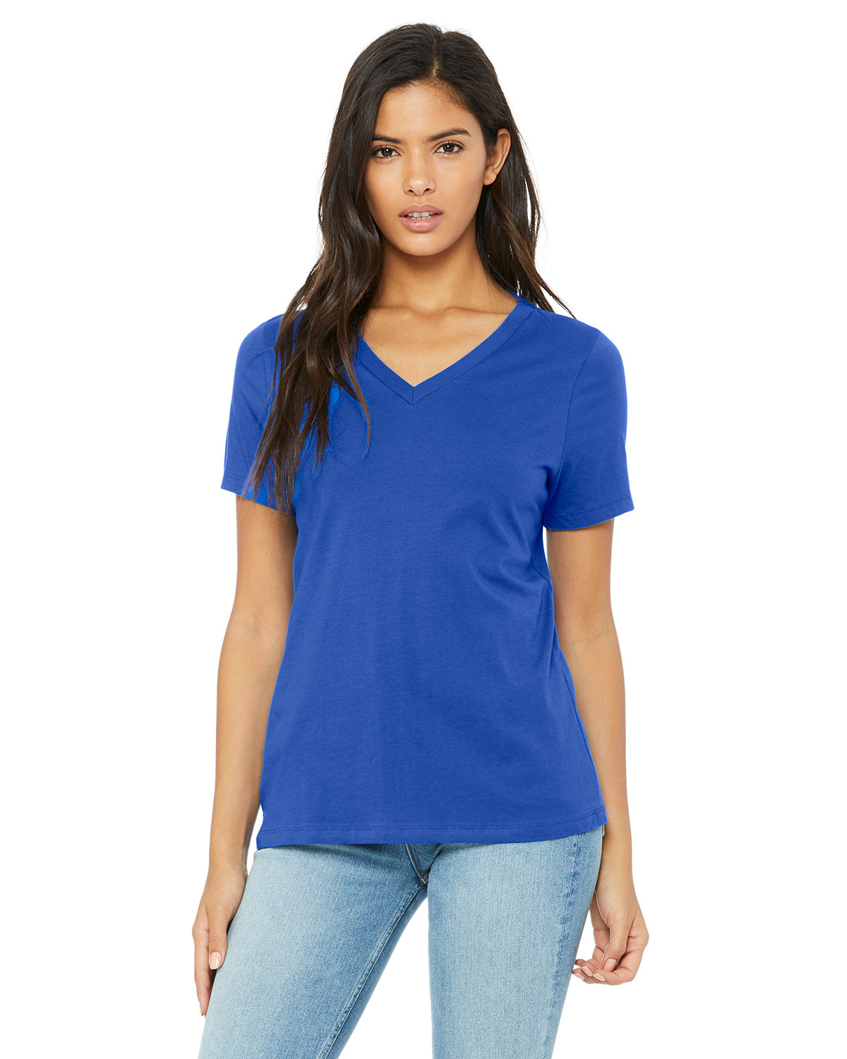 Bella + Canvas Ladies' Relaxed Jersey V-Neck T-Shirt TRUE ROYAL