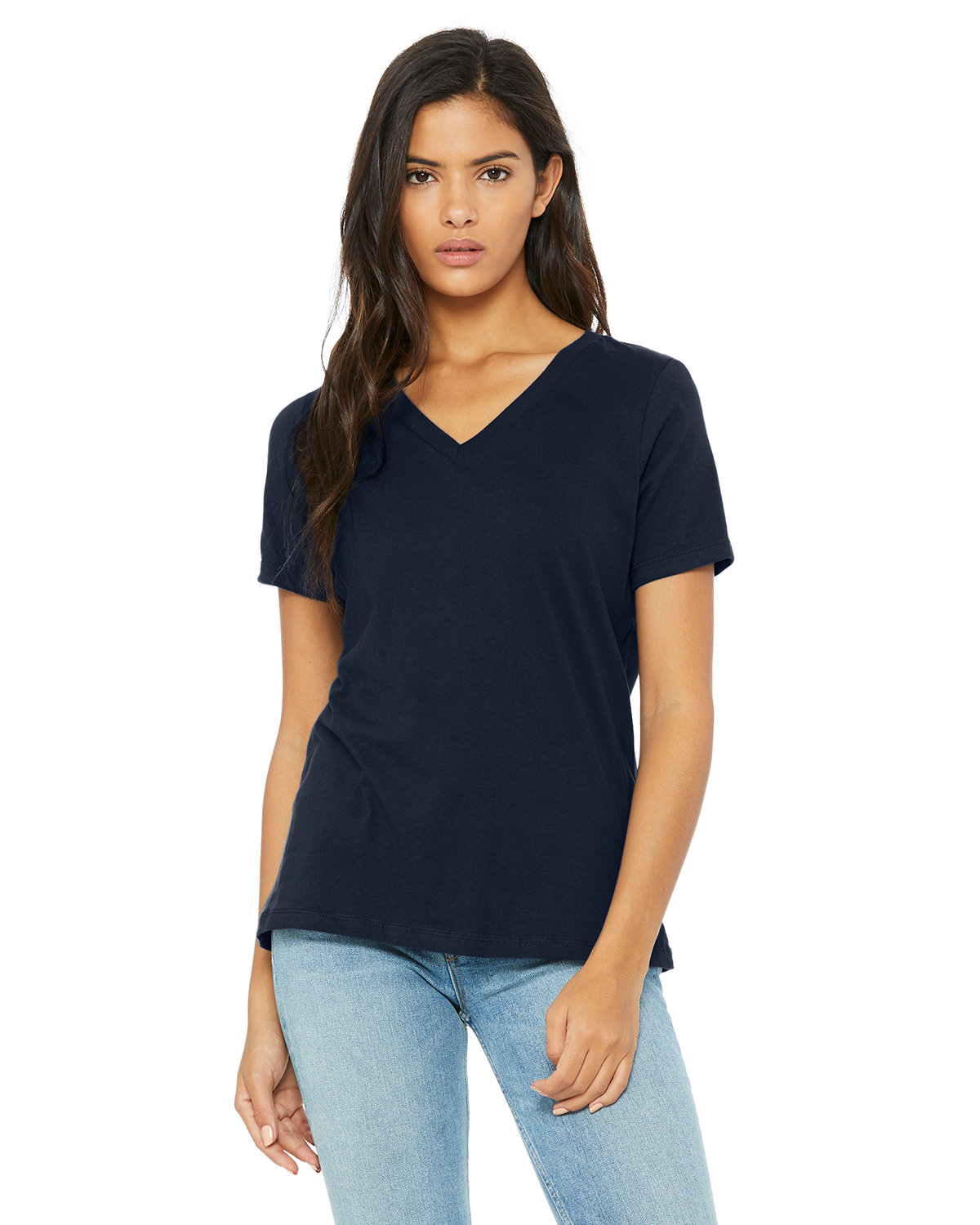 Bella + Canvas Ladies' Relaxed Jersey V-Neck T-Shirt NAVY