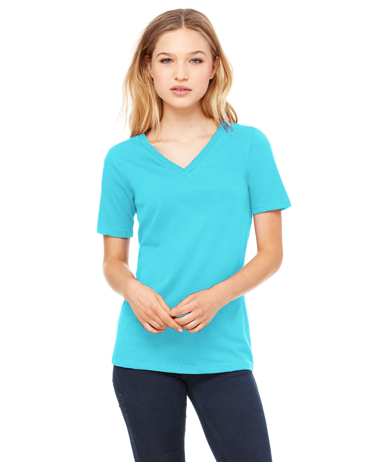 Bella + Canvas Ladies' Relaxed Jersey V-Neck T-Shirt TURQUOISE