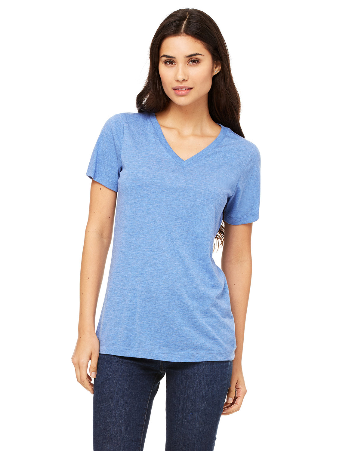 Bella + Canvas Ladies' Relaxed Jersey V-Neck T-Shirt BLUE TRIBLEND