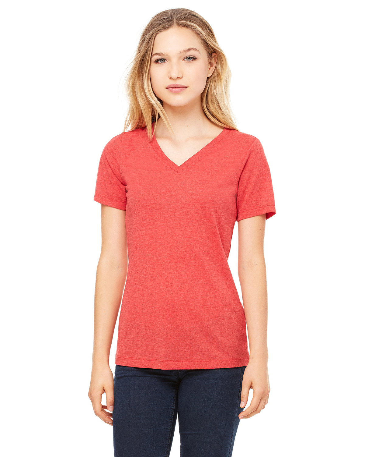 Bella + Canvas Ladies' Relaxed Jersey V-Neck T-Shirt RED TRIBLEND