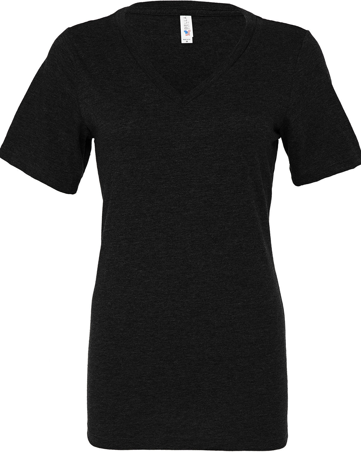 Bella + Canvas Ladies' Relaxed Jersey V-Neck T-Shirt BLACK HEATHER