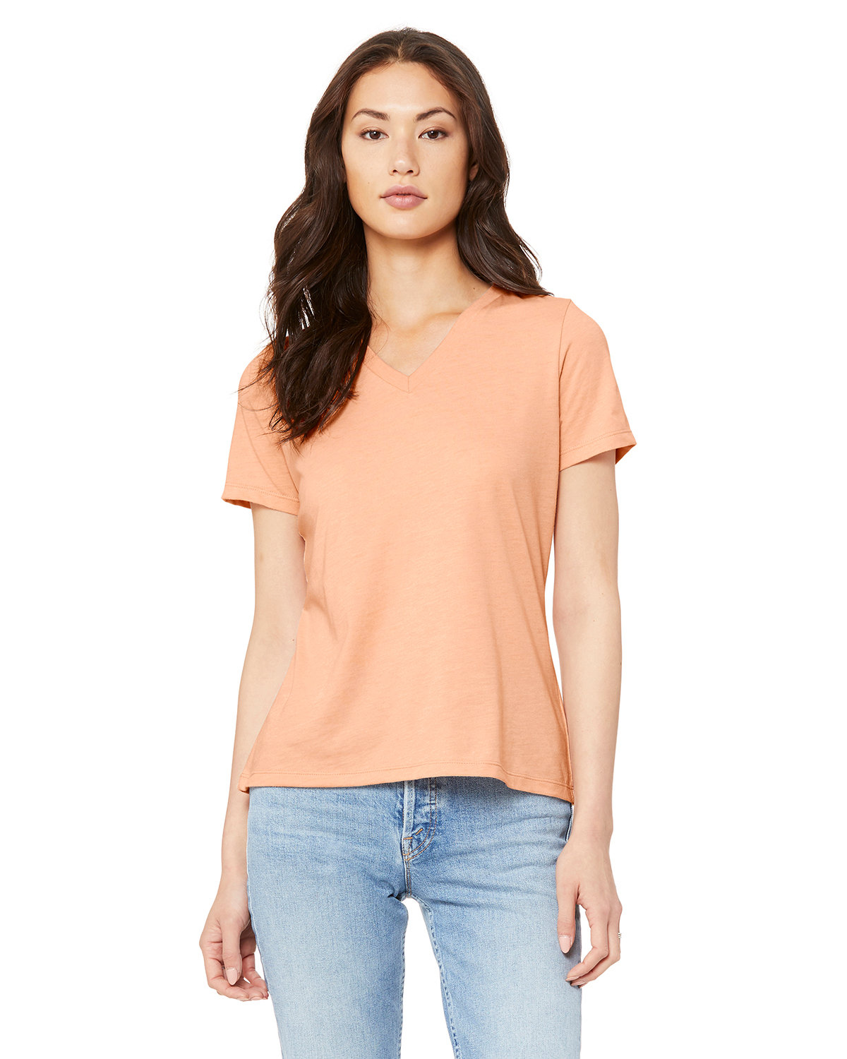 Bella + Canvas Ladies' Relaxed Jersey V-Neck T-Shirt HEATHER PEACH