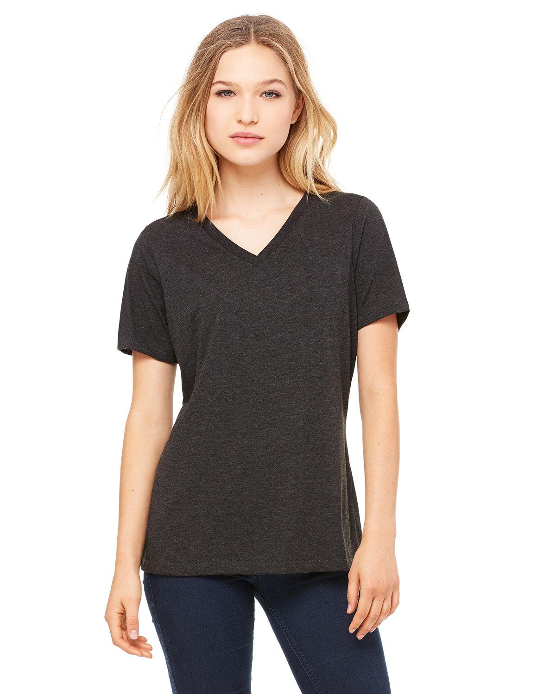 Bella + Canvas Ladies' Relaxed Jersey V-Neck T-Shirt CHRCL BLCK TRBLN