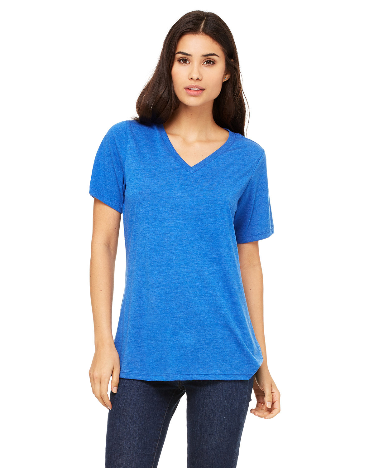 Bella + Canvas Ladies' Relaxed Jersey V-Neck T-Shirt TR ROYAL TRIBLND