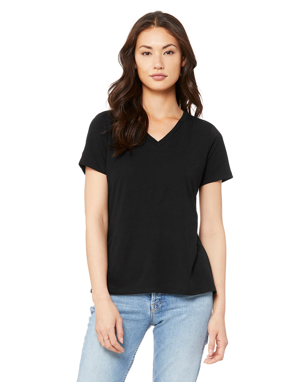 Bella + Canvas Ladies' Relaxed Jersey V-Neck T-Shirt SOLID BLK TRBLND