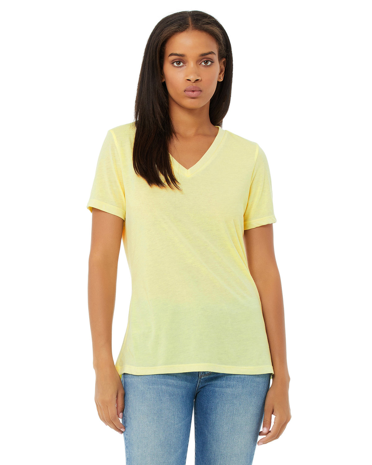Bella + Canvas Ladies' Relaxed Jersey V-Neck T-Shirt PALE YLW TRBLND