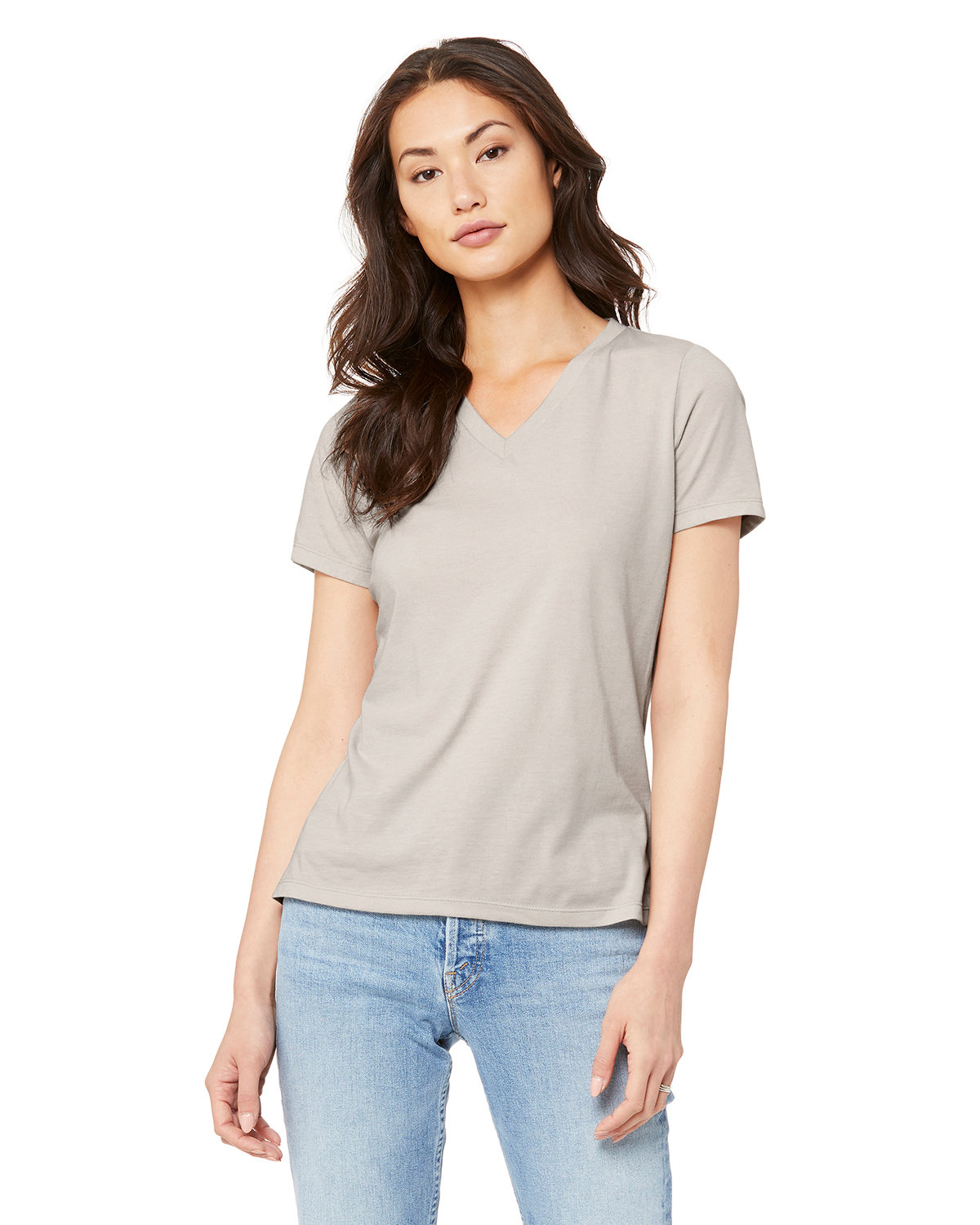 Bella + Canvas Ladies' Relaxed Jersey V-Neck T-Shirt HEATHER DUST