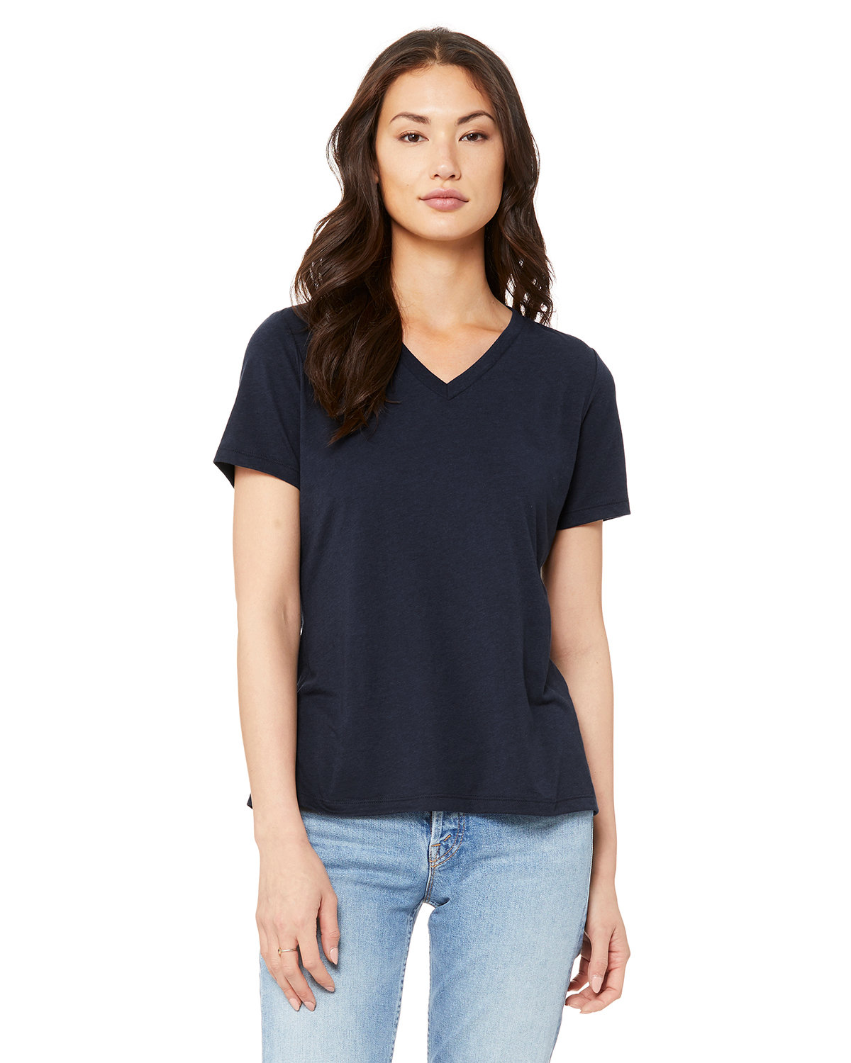 Bella + Canvas Ladies' Relaxed Jersey V-Neck T-Shirt SOLID NVY TRBLND