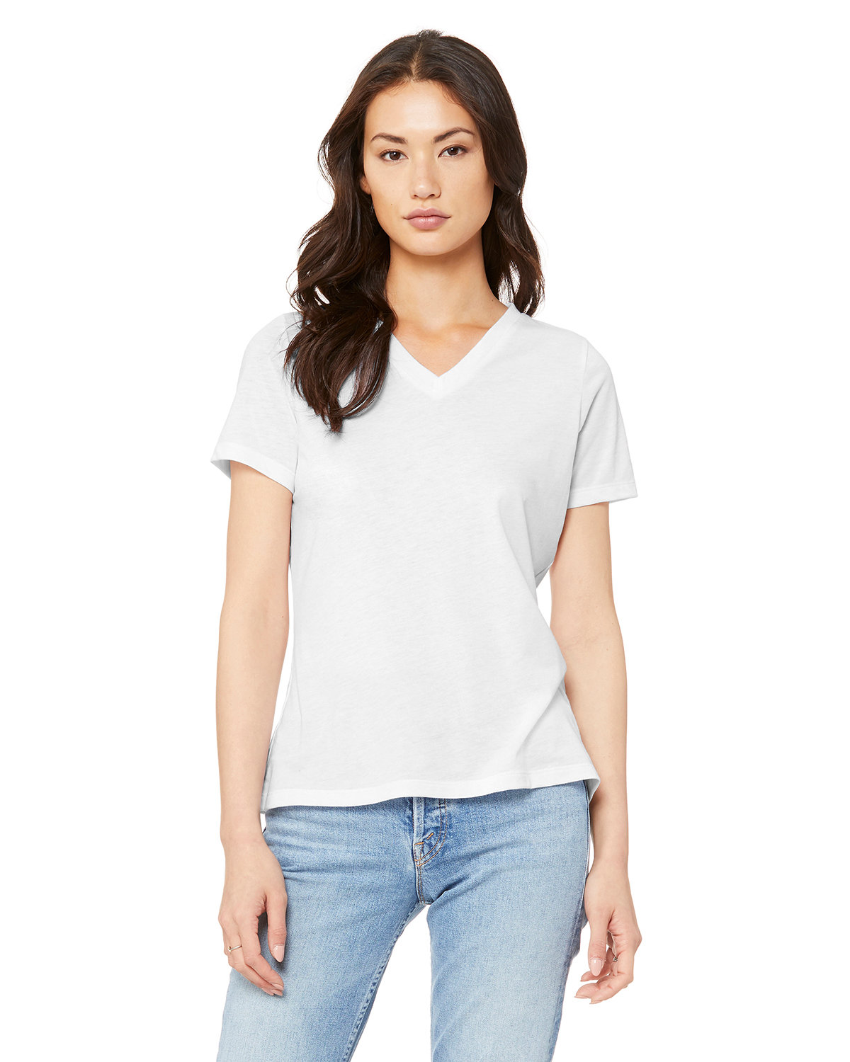 Bella + Canvas Ladies' Relaxed Jersey V-Neck T-Shirt SOLID WHT TRBLND