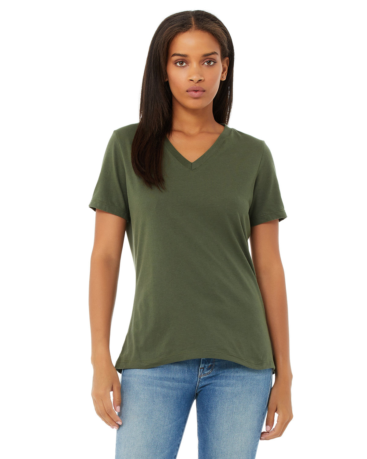 Bella + Canvas Ladies' Relaxed Jersey V-Neck T-Shirt MILITARY GREEN