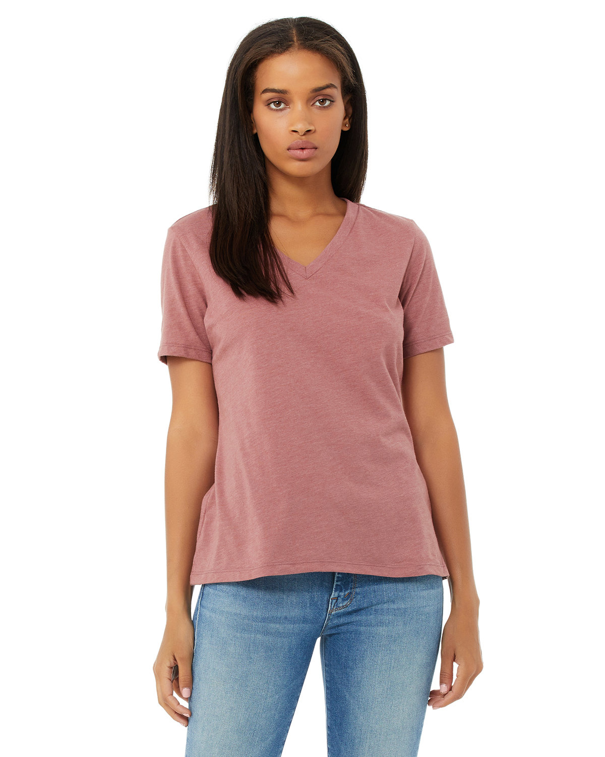 Bella + Canvas Ladies' Relaxed Jersey V-Neck T-Shirt HEATHER MAUVE