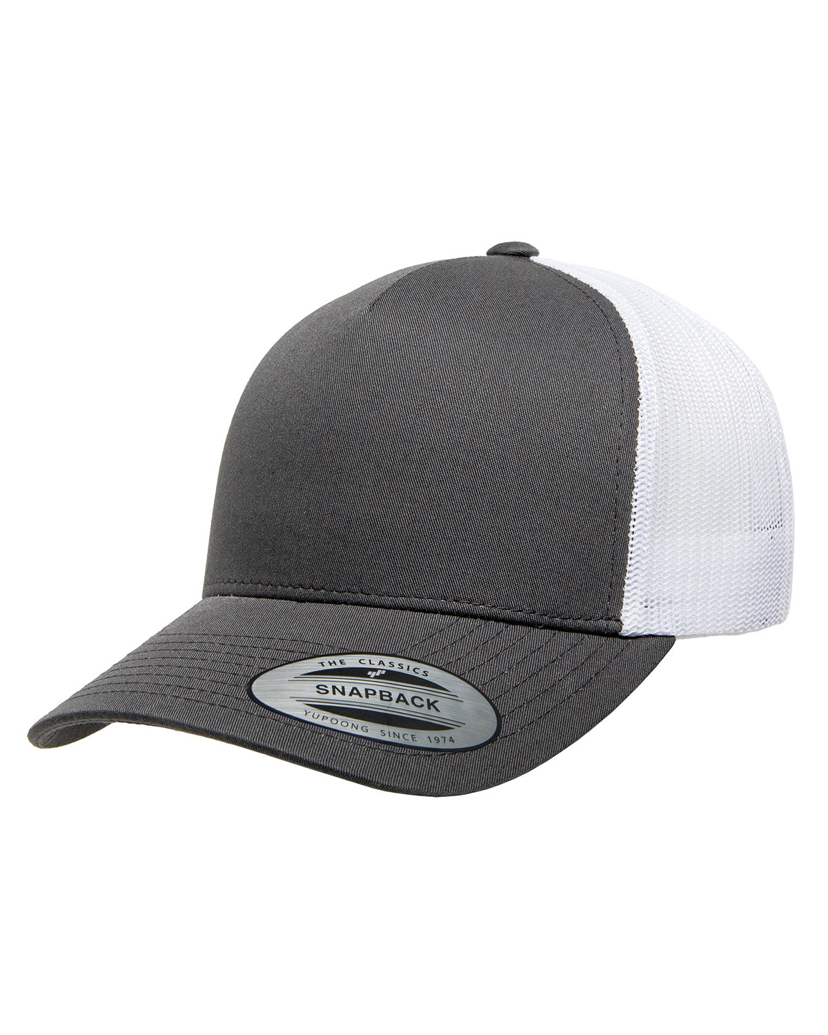 Yupoong Adult 5-Panel Retro Trucker Cap CHARCOAL/ WHITE
