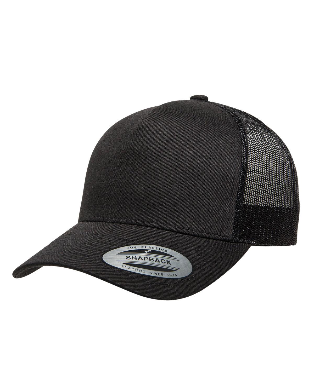 Yupoong Adult 5-Panel Retro Trucker Cap BLACK