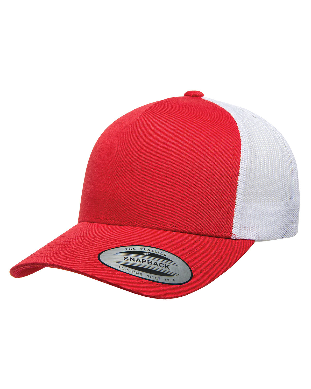 Yupoong Adult 5-Panel Retro Trucker Cap RED/ WHITE