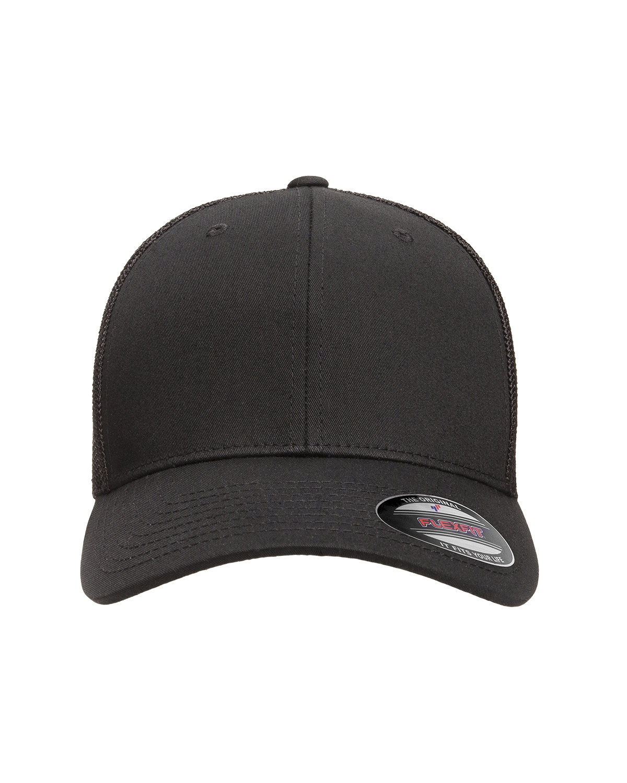 Flexfit Adult 6-Panel Trucker Cap BLACK