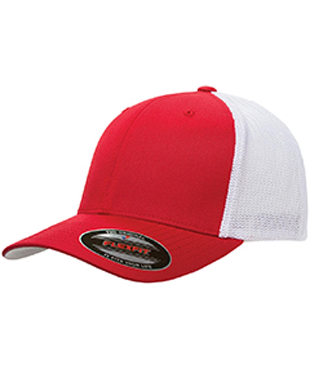 Flexfit Adult 6-Panel Trucker Cap RED/ WHITE