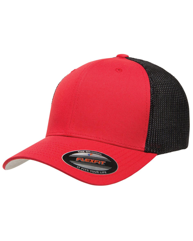 Flexfit Adult 6-Panel Trucker Cap RED/ BLACK