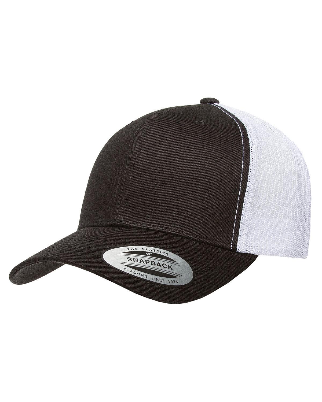 Yupoong Adult Retro Trucker Cap BLACK/WHITE