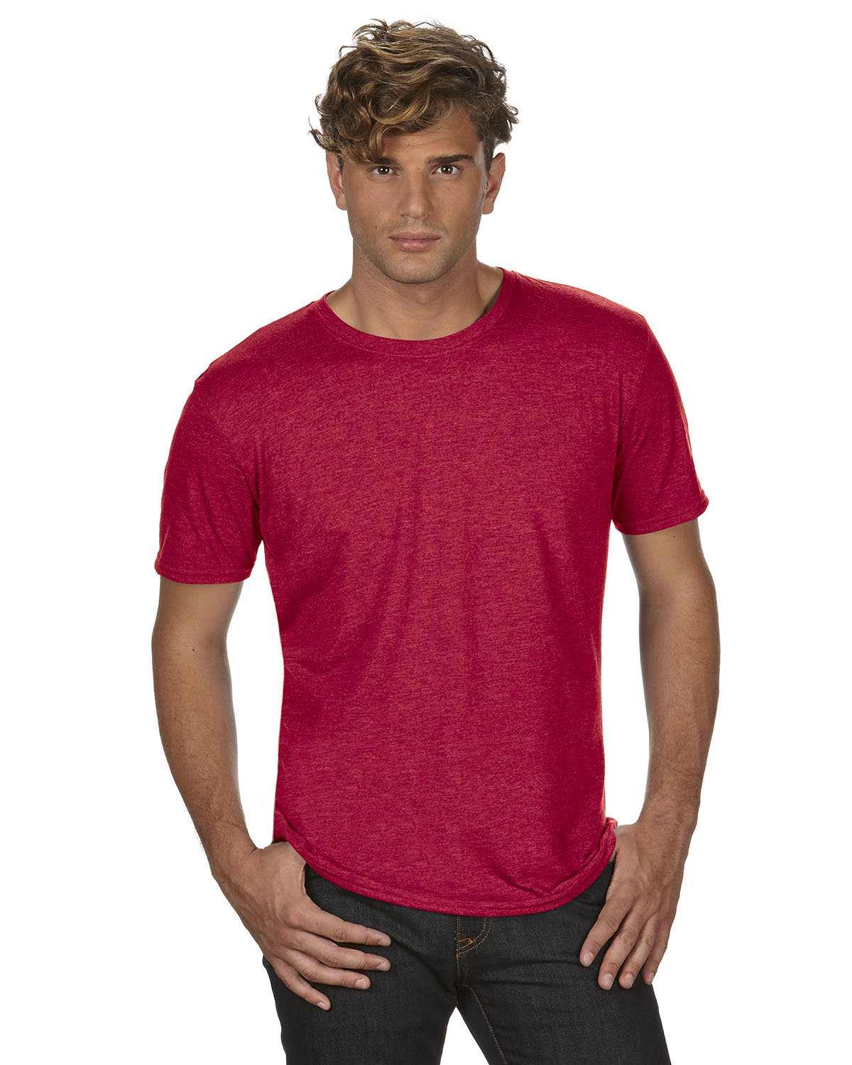 Anvil Adult Triblend T-Shirt HEATHER RED