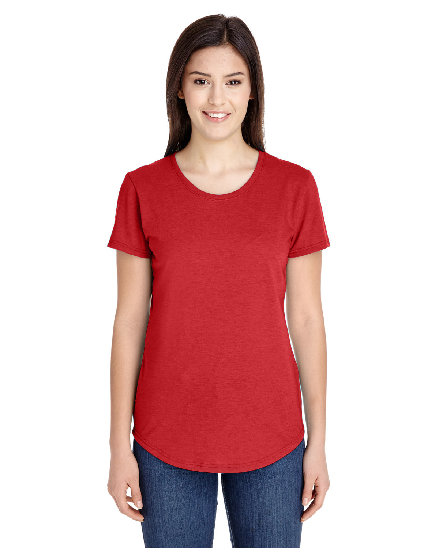 Anvil Ladies' Triblend T-Shirt HEATHER RED