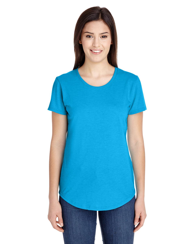 Anvil Ladies' Triblend T-Shirt HTH CARIB BLUE